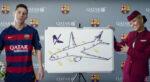 حضور تیم بارسلونا در فیلم امنیتی پروازهای هواپیمایی قطر