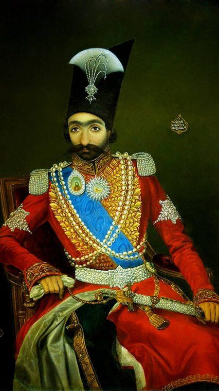 نقاشی رنگ روغن از ناصرالدین شاه پادشاه قاجار
