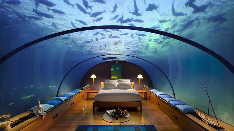 conrad maldives underwater suite night