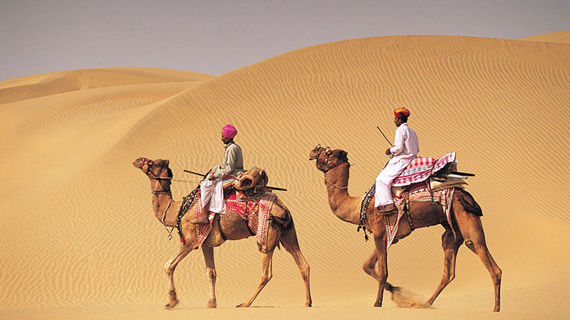 on camelback in Rajasthan