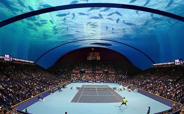 زمین تنیس زیر دریا در دبی