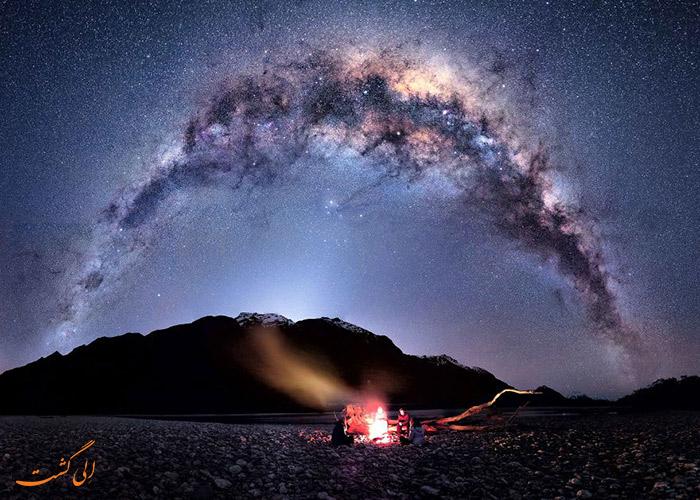 زیر آسمان شب نیوزیلند