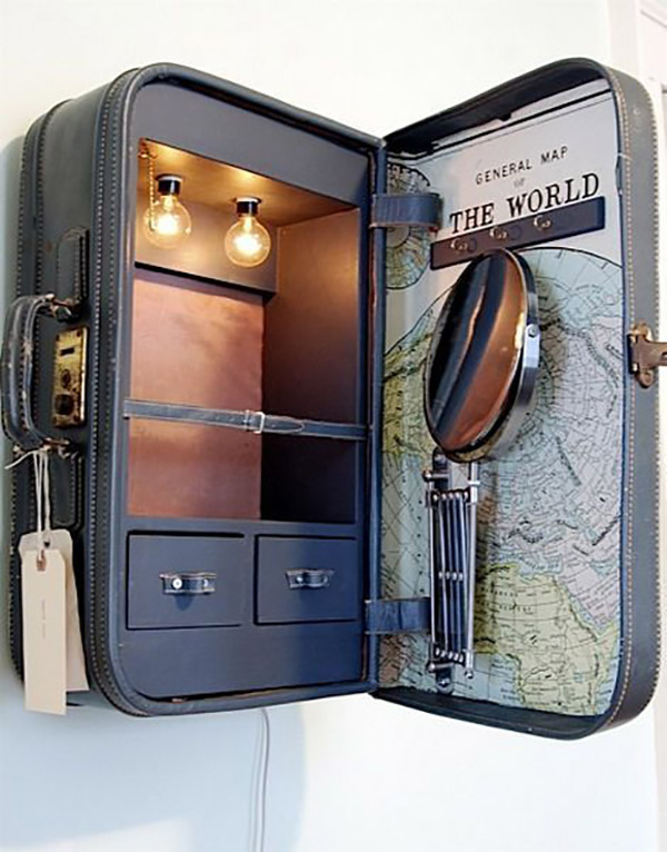 چمدان های قدیمی به جای کمد