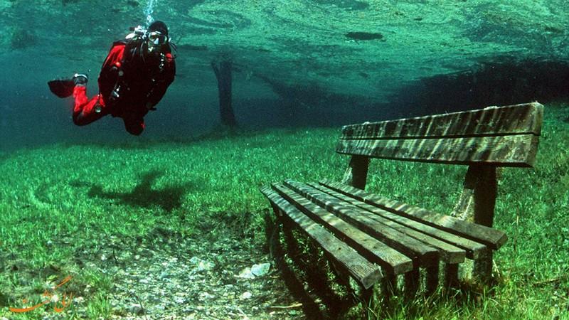 غواصی در دریاچه گرین در اتریش