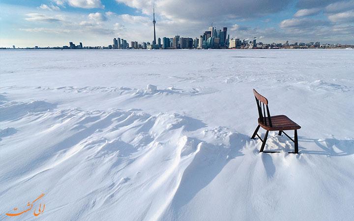 منظره یک روز برفی در تورنتو