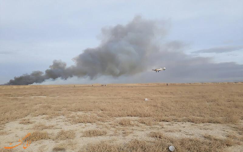 دودهای ناشی از آتش سوزی در تالاب میقان