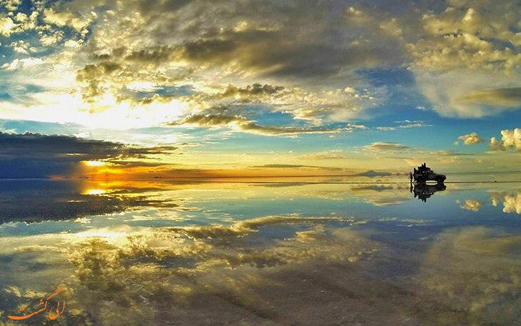 بزرگترین آینه جهان در غروب