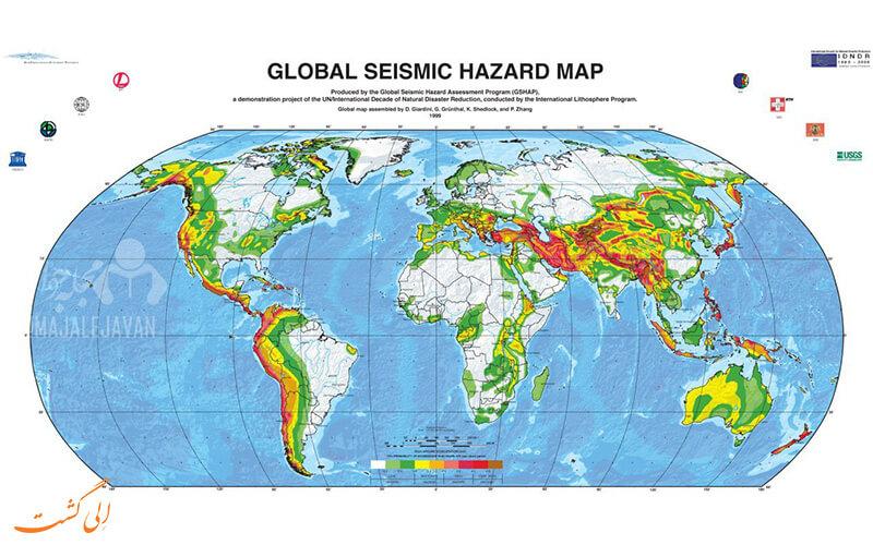 نقشه گستردگی زلزله در قاره های جهان و جایگاه ایران