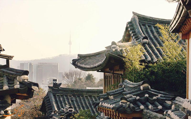 سقف های شیب دار خانه های سنتی روستای بوکچون