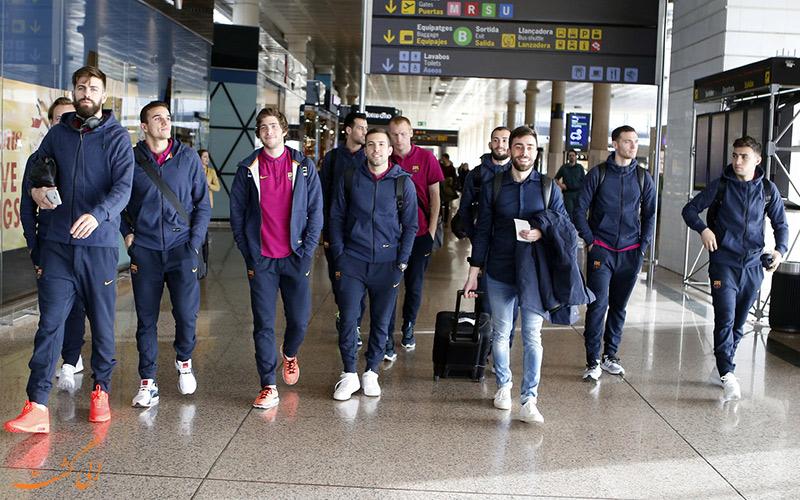 اعضای تیم بارسلونا در فرودگاه بارسلونا