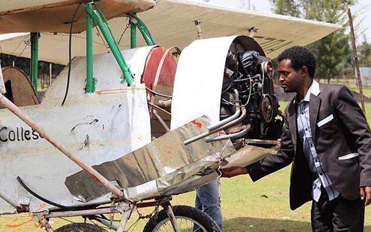 هواپیمای دست ساز مرد اتیوپیایی