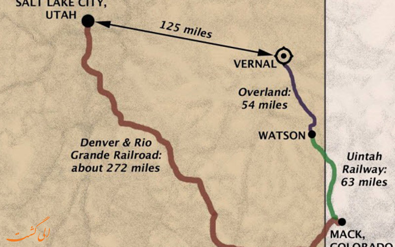 نقشه ورنال تا سالت لیک سیتی