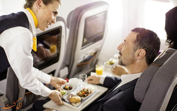 غذای هواپیمایی لوفت هانزا در پرواز اکونومی