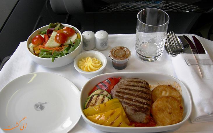پذیرایی و غذای هواپیمایی قطر ایرویز