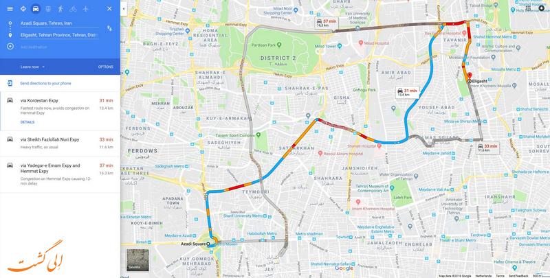 اضافه کردن چند مسیر در گوگل مپ