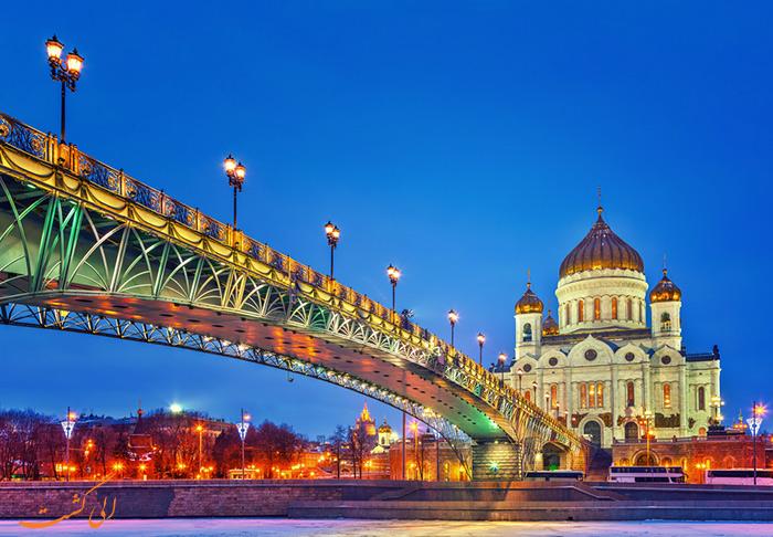 کلیسای مسیح منجی مسکو در شب