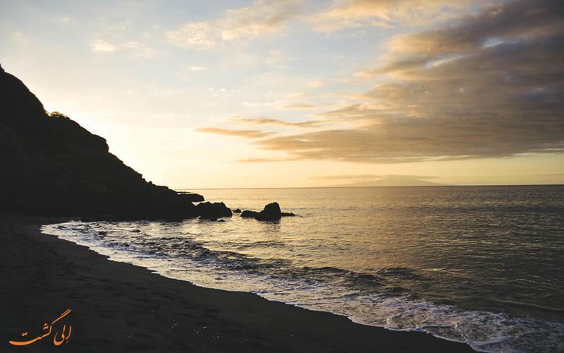 غروب ساحل سیاه هاوایی