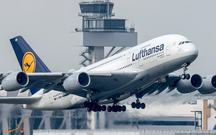 هواپیمای لوفت هانزا در فرودگاه