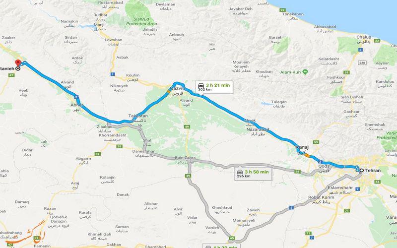 مسیر تهران تا سلطانیه