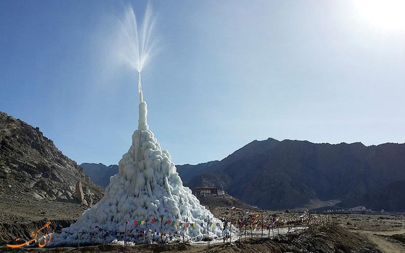 این کوه یخی مصنوعی مشکل آب هیمالیا را حل کرد!