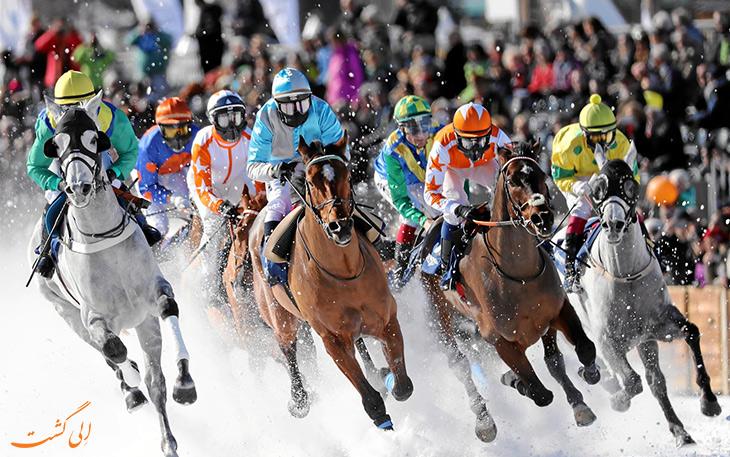 مسابقه اسب سواری روی یخ سوئیس