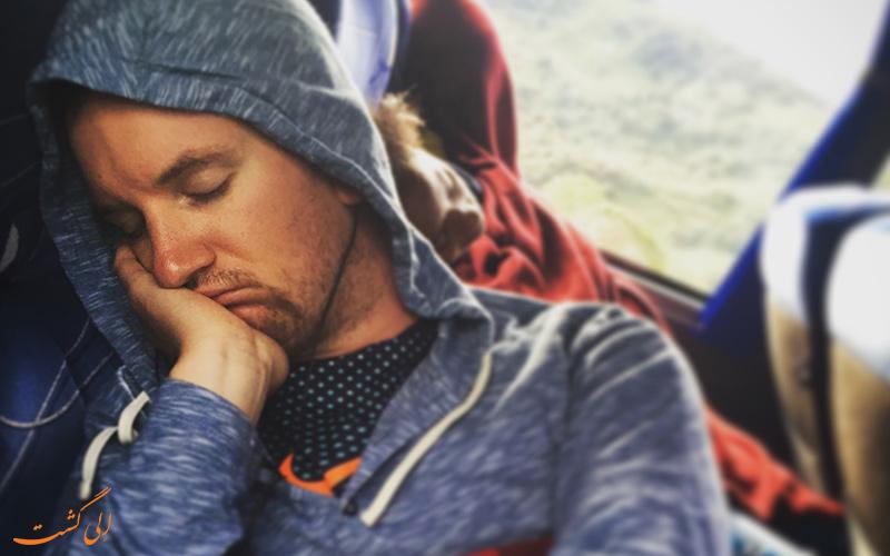 سفر با اتوبوس - خوابیدن در اتوبوس