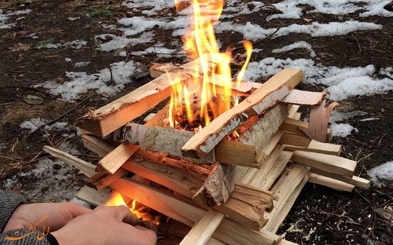 مدل کابینی- نحوه برپایی آتش