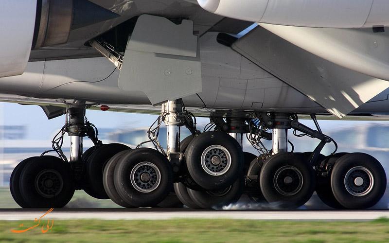 هواپیما در حال بسته چرخ ها