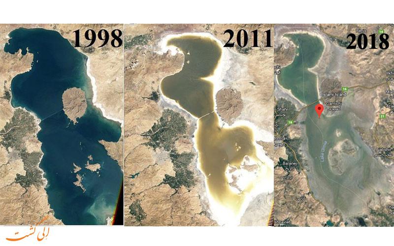 خشک شدن دریاچه ارومیه در حال حاضر