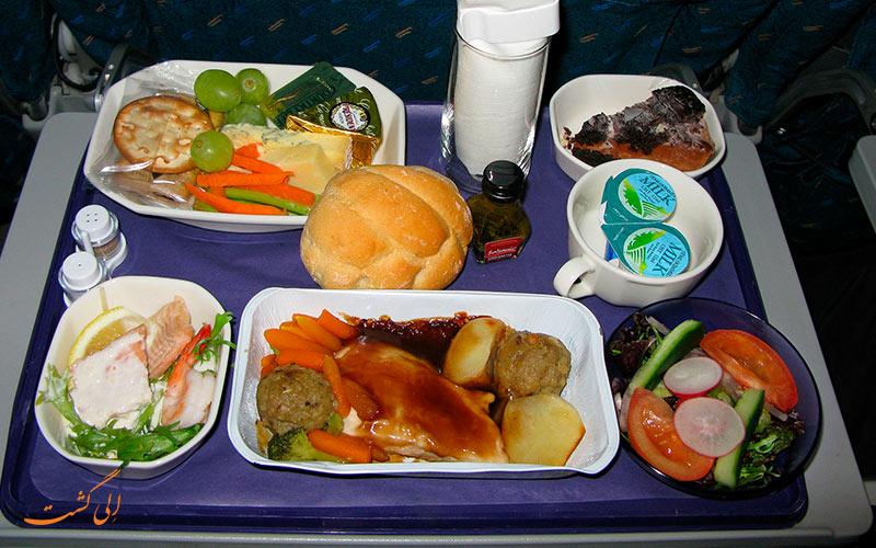 غذای سرو شده در پرواز
