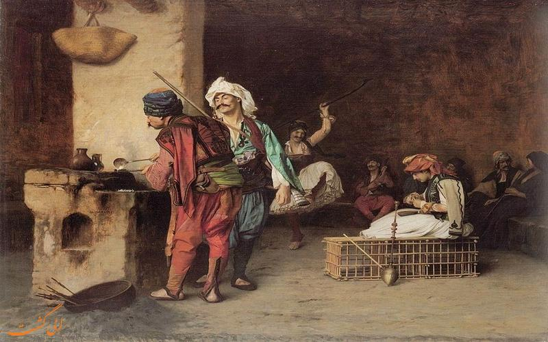 نقاشی یک قهوه خانه عثمانی