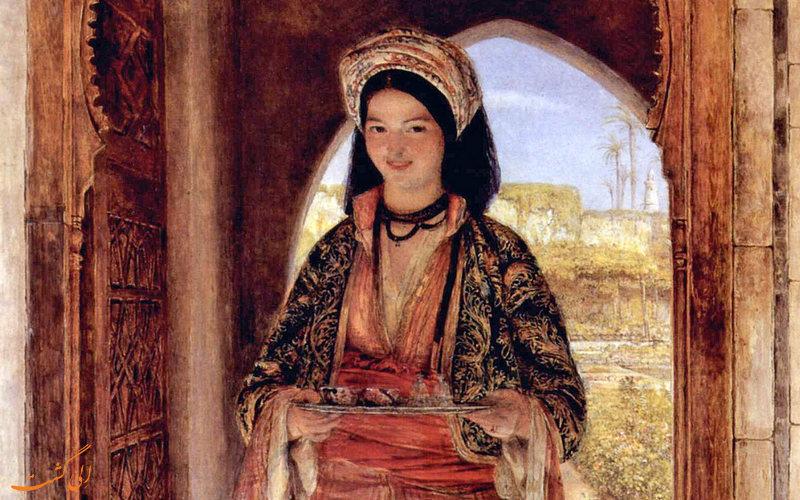 نقاشی آوردن قهوه خدمت پادشاه
