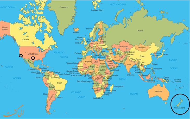 نیوزلند روی نقشه