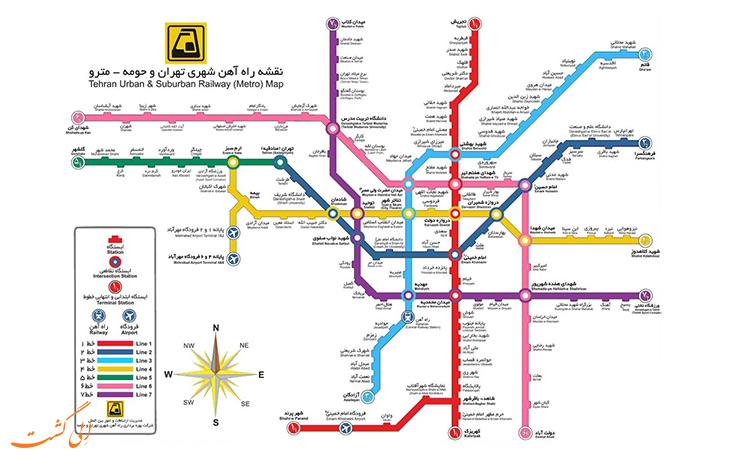 نقشه ی متروی تهران