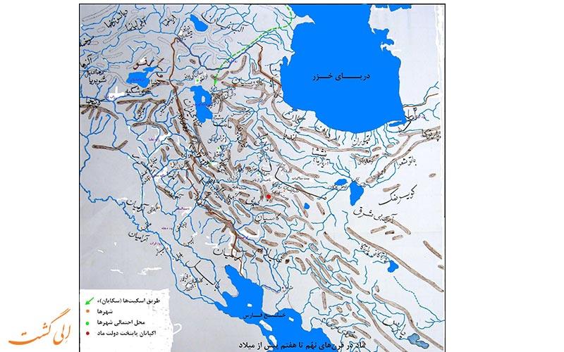 نقشه مکان قرارگیری ساکنین اولیه ایران