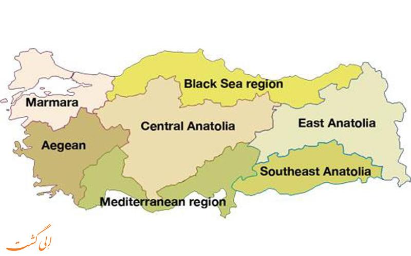مناطق 7 گانه ترکیه-نقشه کامل ترکیه