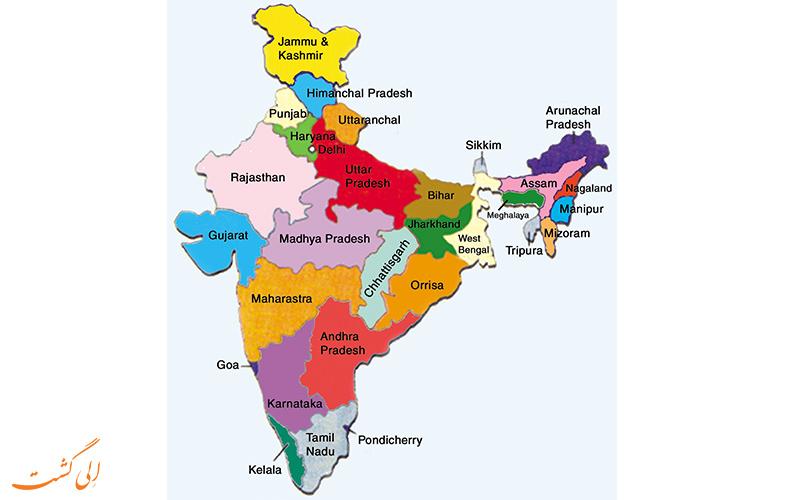 نقشه-کامل-هندوستان و مرزهای مشترک آن