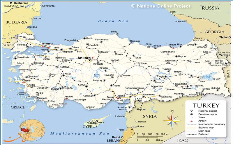 نقشه کامل ترکیه