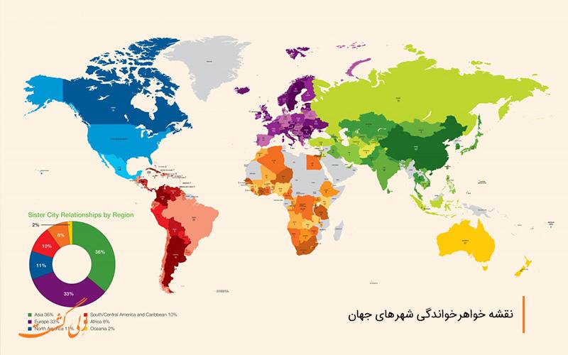 نقشه خواهرشهری در جهان